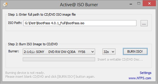 Запись BootPass Active@ ISO Burner